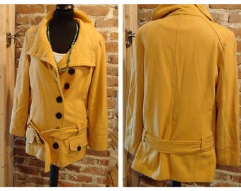 Vintage Mustard yellow Belted Waist Cost Size Small