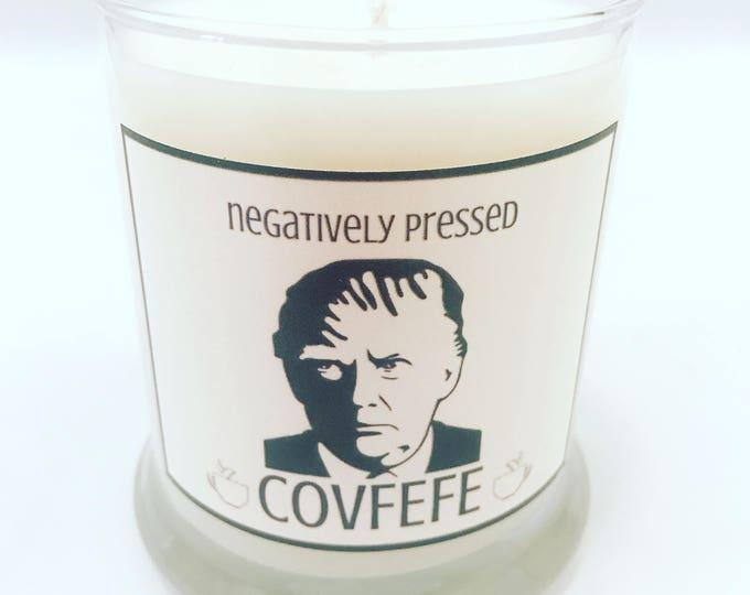 COVFEFE - Donald Trump Tweet - Handcrafted Artisan Soy Candle - 12oz Status Jar Glass - Coffee Candle