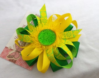 Green And Yellow Hair Bow -  Dressy Yellow And Green Hair Clip