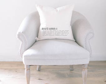 Throw Pillow - Autumn Definition, calligraphy, home decor, fall decor, housewarming gift, cushion cover, throw pillow, seasonal pillow