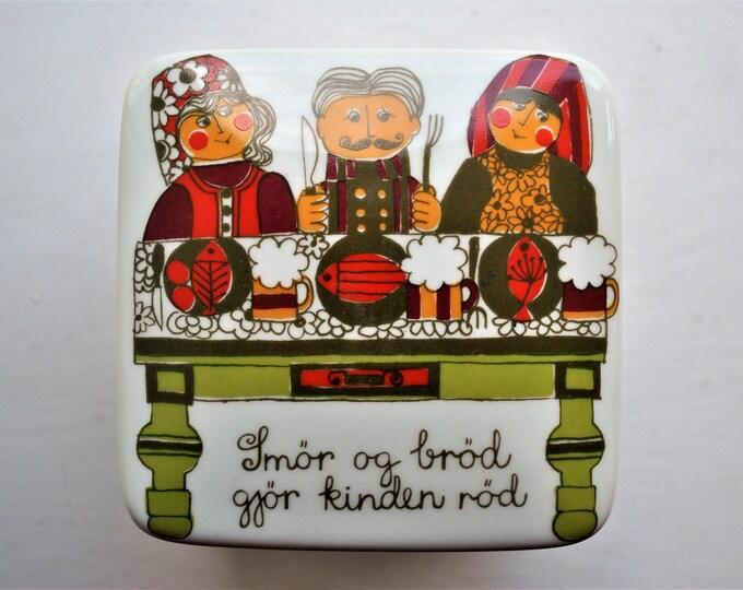 Norwegian Figgjo Flint Saga Butter Box Canister Vintage 1960's