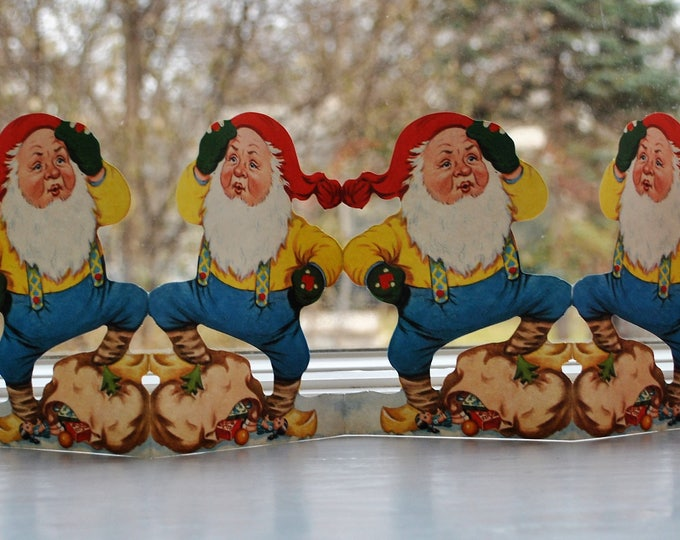 Swedish Christmas Tomte Folding Paper Decoration Pull Out Vintage