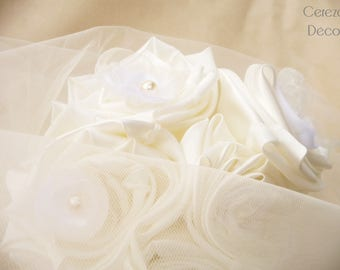 "Bridal bouquet original magical wispy white and ivory ""Agathe"""