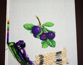 Needlepoint Kits, Needlepoint Painted Canvas, Needlework Kits, Tapestry Canvas, Needlepoint Supplies, Fruit Tapestry, Plums Needlepoint Kit