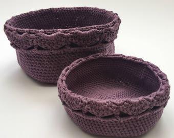 Handmade Crochet Baskets, set of 2 / Storage Basket / Crochet Bowl / Storage Container / Hallway Storage / Bathroom Storage / Nesting Basket