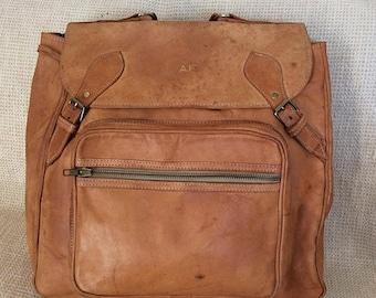 20% SUMMER SALE Genuine vintage natural tan leather backpack rucksack front flap bohemian