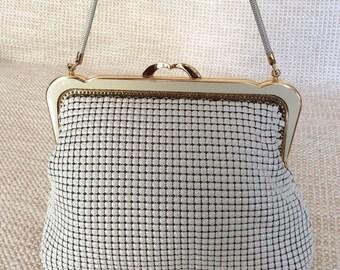 20% SUMMER SALE Vintage PARK Lane ivory Regal Mesh handbag purse with chain