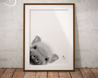 CUTE PEEKABOO PIG Drawing download, Pig Wall decor, Peekaboo Pig Print, Printable Pig Poster, Pig Decor, Peekaboo Animals, Peekaboo Pig, Pig