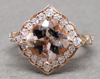 Cushion Cut Morganite Scallped Diamond Engagement Ring 14k Rose Gold Wedding Bridal Ring 8mm 2.40ct