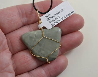 Jade Wire Wrapped Stone Pendant