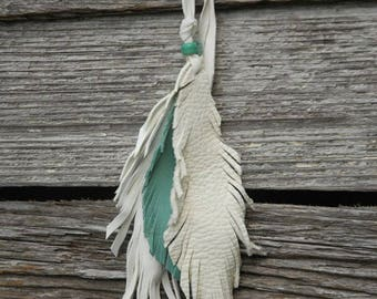 Turquoise and White Leather feather charm - Purse charm - Fringed Leather Feathers