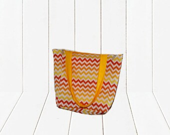 Eco Friendly Reusable Shopping Bag Ombre Orange Chevron with Yellow Lining Reversible Tote Bag