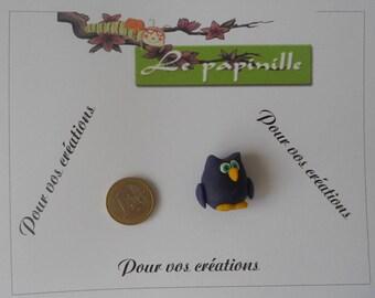 Chouette violette en porcelaine froide, pendentif ou à coller, piton fourni