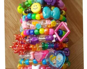 Deluxe Lot of 10 kandi bracelets,rave outfit, kandi singles, edc kandi