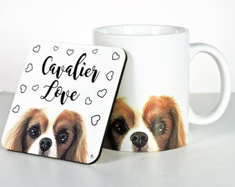 Blenheim Cavalier King Charles Spaniel Coasters, Add Custom Text of Your Choice