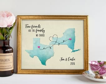 Long Distance Best Friend Gift, Going Away Gift for Friend, Friendship Quote Print BFF Gift Map Art Customize With Any Two States print 8x10