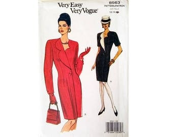 "Vintage Very Easy Vogue 8563 Coat Dress Sewing Pattern 2 Sizes Bust 34"" 36"" UK 12 14"