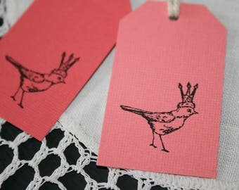 Bird and Crown Tags // Bird Gift Tags // Set of 4 Gift Tags // Pink and Black Gift Tags //  Shabby Chic Gift Tag // Paper Decoration