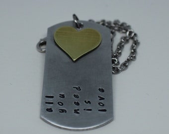 All you need is love, Beatles Inspired Hand-Stamped Necklace