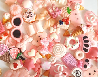 Sweet pink kawaii cabochon mix lot for decoden and crafts