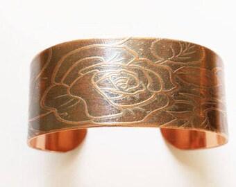 Rose on Branch Copper Etched Bracelet