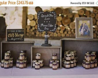 Christmas in July - Sale Rustic Jam Favors - 125 (1.5oz) Wedding Jam Favors - Apple Butter - Rustic Wedding Favor - Fall in Love - Personali