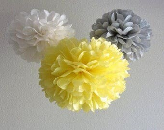 18x Mixed Size Grey White Yellow Tissue Paper Pom Pom Wedding Birthday Party Anniversary Engagement Christening Bridal Shower Baby Shower De