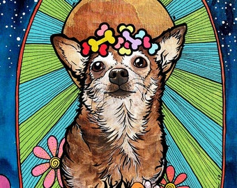 Chihuahua, Pet Loss Gifts, Animal Art, Animal Prints, Chihuahua Gift, Custom Pet Portrait, pet portrait, Dog Mom Gift, Dog Lover, Byzantine