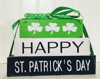 Happy St. Patrick's Day Mini wood stacker blocks-shamrocks