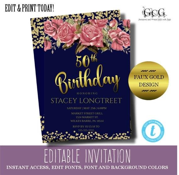 50th birthday invitation instant download fiftieth birthday invite il570xn filmwisefo