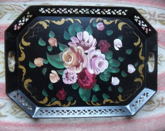 """Toleware rectangular vintage black and pink floral tray / Large 22"""" Tole Metal Tray"""