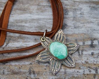 Campitos Turquoise Sterling Silver Necklace .Brass . Daisy  . Hand Forged . Sterling Necklace.Rustic. Necklace. Mixed Metals