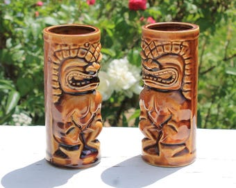Set of 2 Vintage Tiki Mugs by Orchids of Hawaii Made in Japan