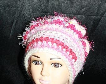 fancy, very warm hat, shades of pink