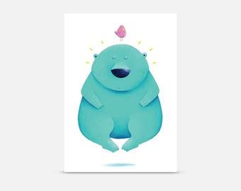 Floating Bear, Postcard A6