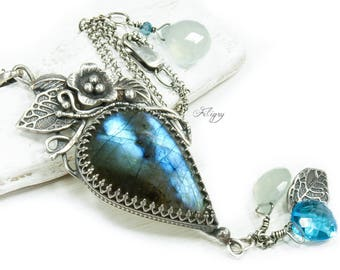 Labradorite with Aqua Blue Chalcedony, Swiss Blue Quartz and London Blue Mystic Topaz 935 Silver Necklace