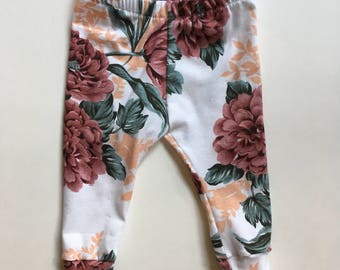 Peach Floral Leggings, baby leggings, toddler leggings, toddler pants,
