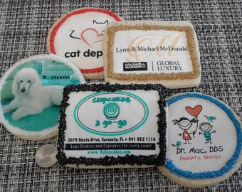 Custom Logo Cookies for marketing events, business meetings, customer relations.