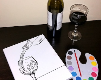 Kids or Wine Paint Party Activity or Art Party Supply Canvas Board set kit- choose theme w/Paint, brush, & gift bag or Canvas Just Only