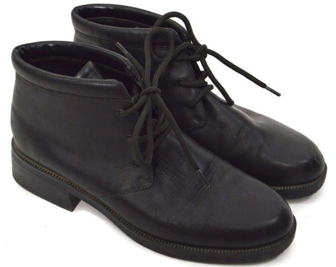 Vintage 90s Jennifer Moore Black Leather Chukka Boots Sz 9M