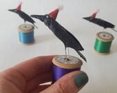 Crow on a Cotton Reel papier mache and wire minature sculpture