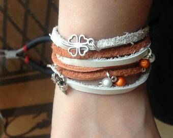 Spring orange/white leather bracelet