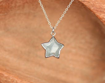 Silver star necklace - aquamarine necklace - crystal star necklace - gold star necklace