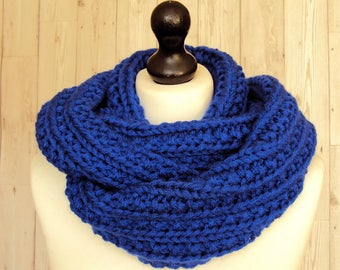Royal Blue Infinity Scarf Blue Circle Scarf, Women's Blue Scarf Hand Knitted Winter Scarf, Men's Scarf, Women's Gifts, Vegan Gifts, Sue Maun