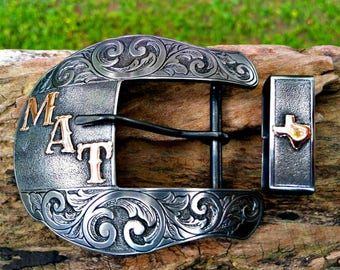 Ranger Belt Buckle, Mens Custom Buckle, Plain Jane, Western Belt Buckle, Personalized, 2 Piece Ranger Set, Engraved Gift, Rodeo, Cowboy Gift