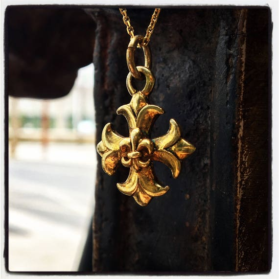 Etherial Jewelry - Rock Chic Talisman Luxury Biker Custom Handmade Artisan Pure Sterling Silver .925 Maltese Cross & Fleur De Lis Pendant