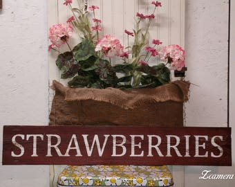 Strawberries, Wood Sign, Hand Painted, Rustic, Vintage, Shabby Chic, Wood Signs