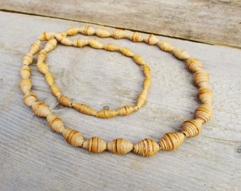 Natural Birch Bark Necklace, Long Organic Beaded Necklace, 1960 Vintage Bohemian Hippie Necklace, Sweden Unique Gift
