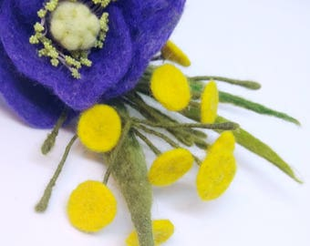 "Brooch made of wool ""Bouquet with poppy and yellow flowers"" Handmade"
