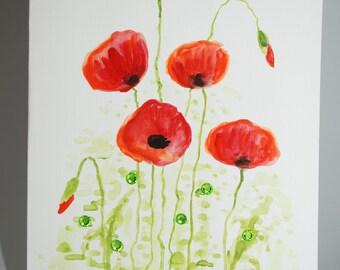 Watercolor Floral Handmade Greeting Card